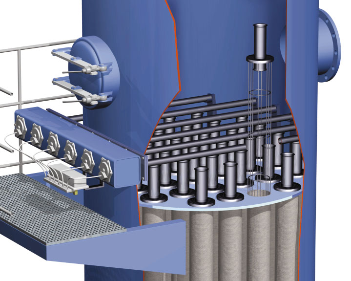 Nahansicht der Jetpulse Filtertechnik eines Rundfilters