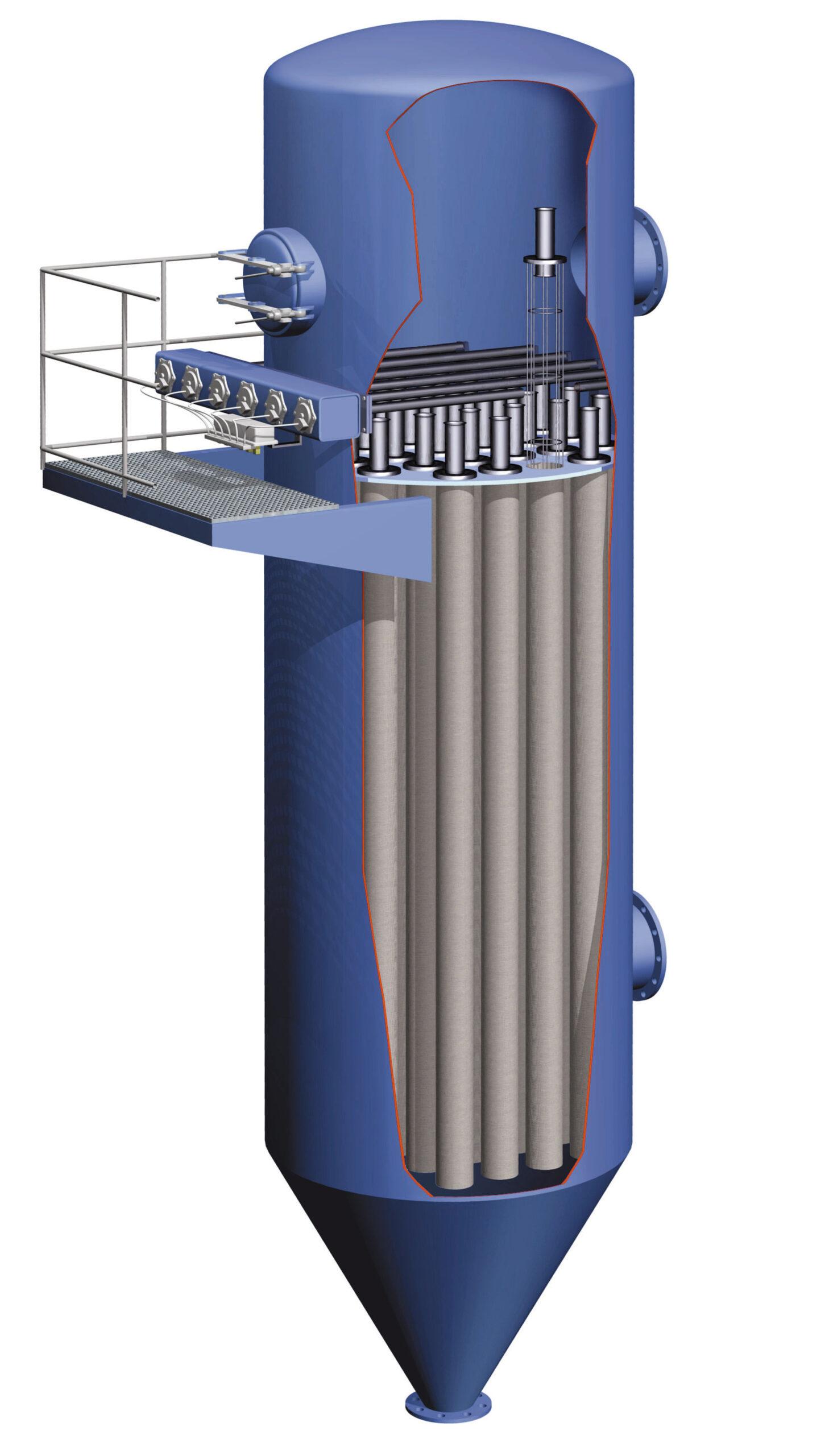 Prinzip-Darstellung der Jetpulse-Filtertechnik in einem Rundfilter